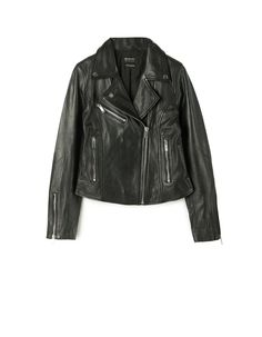 Leather biker jacket - Jackets | Stradivarius United Kingdom