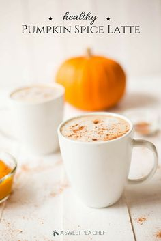 Healthy Pumpkin Spice Latte A Sweet Pea Chef Homemade Pumpkin Spice Latte, Starbucks Pumpkin Spice, Pumpkin Spiced Latte Recipe, Pumpkin Recipes, Fall Recipes, Holiday Recipes, Drink Recipes, Weekly Recipes, Immersion Blender Recipes