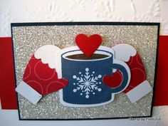 """A warm and toasty """"Scentsational Season"""" card by France Martin aka Frenchie. ♥ the hands cradling the hot cup of cocoa! Christmas Cards To Make, Christmas Mugs, Xmas Cards, Holiday Cards, Christmas Stuff, Christmas 2019, Winter Christmas, Christmas Trees, Hanukkah Cards"""