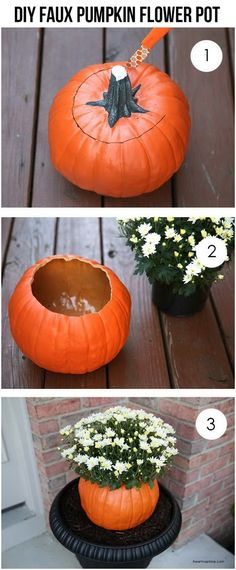 DIY Faux Pumpkin Flower Pot. Make this fall flower pot with a faux pumpkin from dollar store for your porch decoration this fall season.
