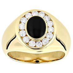Luxurman 14k Gold Men's 3/4ct Diamond and Black Onyx Ring (G-H, VS1-VS2) (Yellow Gold Size 12), White