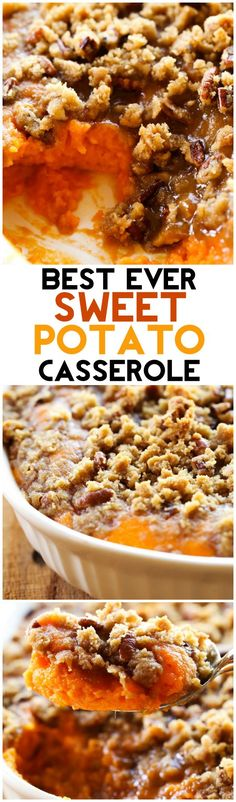 This Sweet Potato Casserole is my absolute FAVORITE side dish at Thanksgiving or anytime really! It is perfectly sweet with a delicious crumb topping! It is always the first thing to disappear whereve (Sweet Potato Recipes) Fall Recipes, Holiday Recipes, Christmas Desserts, Christmas Side, Pumpkin Recipes, Thanksgiving Sides, Thanksgiving Casserole, Thanksgiving Treats, Thanksgiving 2016