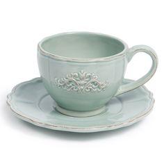 Tasse et soucoupe à thé Banquet bleues