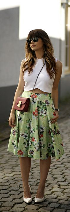 I like the crop top with the coloured skirt, I like how the crop top has more of a design and shape to it.