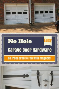 Easy Magnetic-Garage Door Hardware :: Get the carriage look for less without hav. - Easy Magnetic-Garage Door Hardware :: Get the carriage look for less without having to put holes in - Garage Decor, Garage Doors, Garage Work Bench, Door Hardware, Garage Update, Door Upgrade, Garage, Magnetic Garage Door Hardware, Garage Door Types