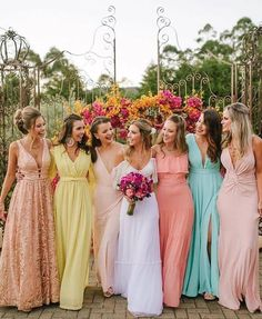bridesmaid trends 2020 that are fabulous bridesmaid dresses, bridesmaid dress trends bridesmaid dresses bridesmaid dress colors, mismatched bridesmaid dresses 2020 Mismatched Bridesmaid Dresses, Bridesmaid Dress Colors, Wedding Bridesmaid Dresses, Rainbow Bridesmaid Dresses, Disney Bridesmaids, Tulle Wedding, Bridal Dresses, Nontraditional Wedding, Wedding Trends