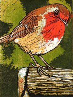 Robin. Linocut,!!!!!!!