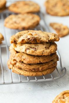 This easy Butterscotch Toffee Cookies recipe may be the best cookies I've ever tasted. Each cookie is loaded with butterscotch chips and chocolate toffee pieces. Toffee Cookie Recipe, Toffee Cookies, No Bake Cookies, Yummy Cookies, Molasses Cookies, Sugar Cookies, Baking Recipes, Cookie Recipes, Dessert Recipes