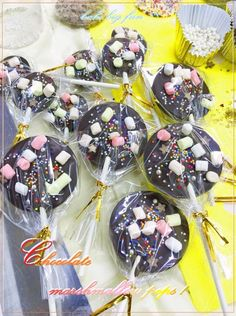 D.I.Y. Chocolate pops with sugar beads & marshmallows!