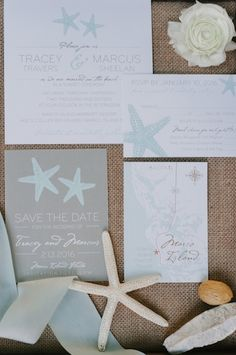 Seaside inspired invitation suite by The American Wedding