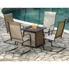 Backyard Creations® Shiner Falls Brown 5-Piece Fire Pit Patio Set at Menards® Fire Pit Patio Set, Fire Pit Seating, Fire Table, Backyard Creations, Fire Bowls, Outdoor Furniture Sets, Outdoor Decor, Back Patio, Summer Nights