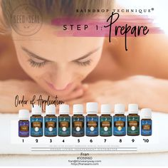 Step 1 Prepare - Raindrop Technique collection includes: Seven Single Oils (5-ml bottles) Thyme Basil Peppermint Oregano Wintergreen Cypress Marjoram Two Oil Blends (5-ml bottles) Valor® Aroma Siez™ Also Contains 8-oz. Ortho Ease® Massage Oil 8-oz. V-6™ Vegetable Oil Complex By Young living