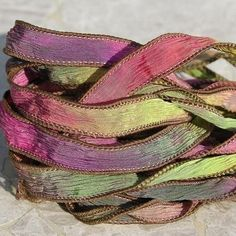 Secret Garden Silk Ribbons Strings Hand Dyed and Sewn Watercolor Strands. $24.99, via Etsy.