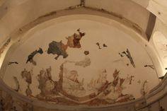 Iglesia del Salvador. Abside.Restos de una pintura mural consistente en un pantocrator rodeado de los Cuatro Evangelistas. Siglo XII