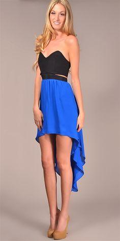 Jennifer Hope - Strapless Cut Out High Low Dress - Black/ Cobalt