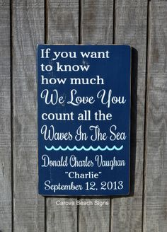 Nautical Nursery Wall Art Personalized Shower Gift New Babies Beach Baby Personalized Baby Sign Boys Girls Coastal Room Nautical Theme Count The Waves Of The Sea Hand Painted Wood Sign by
