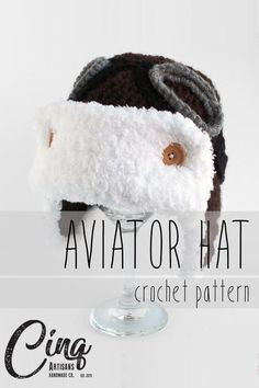 Aviator Hat with Ear Flaps and Goggles Crochet Pattern Crochet Hooks, Crochet 101, Crochet Headbands, Hat Crochet, Crochet Baby, Hat Patterns, Knitting Patterns, Crochet Patterns, Aviator Hat