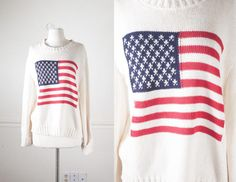 American Flag Sweater, Oversized Sweater, Bohemian Clothing, 80s Sweater, Red White and Blue, Slouchy Sweater, Flag Jumper Stars and Stripes
