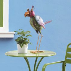 Sunjoy Whimsical Hand Painted Metal Bird Statue, 22-inches,, Outdoor Décor