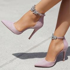 Pointed Toe Line-Style Schnalle Strass Stiletto Heel Damen Pumps . - Pointed Toe Line-Style Schnalle Strass Stiletto Heel Damen Pumps - Lace Up Heels, Pumps Heels, Stiletto Heels, Women's Stilettos, Prom Heels, Heeled Sandals, Lilac Heels, Purple Shoes, Sandal Heels