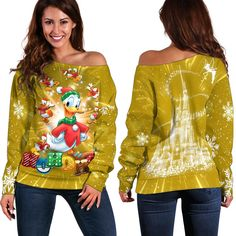 Donald Duck Hohoho Shoulder Sweater Disney Clothes, Disney Outfits, All Design, Donald Duck, Christmas Sweaters, Size Chart, Just For You, Sewing, Shoulder