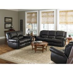 modesto 3piece top grain leather reclining set