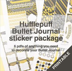 Hufflepuff bullet journal stickers package - A4 - printable, print at home, digital prints - Gryffindor - hogwarts - Harry Potter
