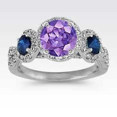 Three-Stone Sapphire and Diamond Halo Engagement Ring with Round Lavender Sapphire