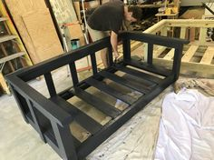 We make gorgeous and affordable custom daybed swings. Our swings are made Wood Daybed, Diy Daybed, Mattress Couch, Mattress Covers, Porch Bed, Porch Swings, Interior Design Living Room, Living Room Decor, Diy Home Decor