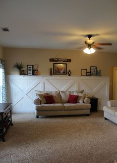 Learn how to install a barn door wainscoting wall treatment with a shallow photo ledge on top. Decor, Interior Barn Doors, Home Remodeling, Interior, Barn Decor, Wall Treatments, Home Decor, Doors Interior, Wainscoting Styles