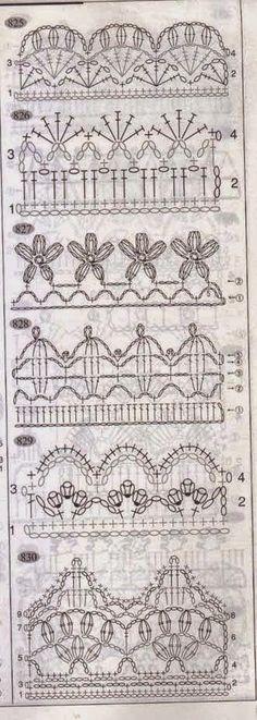 Fantásticas puntillas para aplicar a manteles y toallas   Crochet y Dos agujas