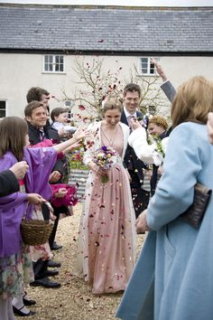 DIY natural confetti at River Cottage farm wedding. Photo: Jennie Hill