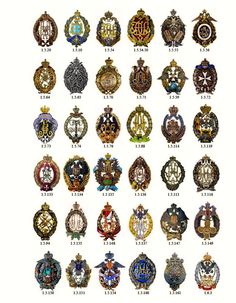 A chart showing the badges of Imperial Russia Russian Order Medal Cross Badge.