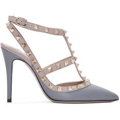 Valentino Grey and Pink Valentino Garavani Rockstud Cage Heels ($995) ❤ liked on Polyvore featuring shoes, pumps, grey, pink pointed toe pumps, sling back pumps, grey pumps, pointy-toe pumps and gray slingback pumps