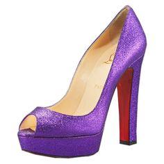 Christian Louboutin Malls Bambou 140 Glitter Peep Toe Pumps Violet