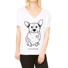 Corgi Patched Hearts Women's V-Neck Slouchy T-shirt in white.