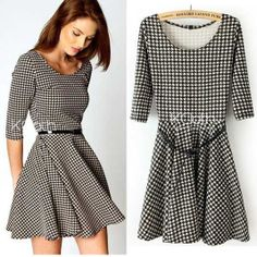 KCLOTH Midi Dress with Check Pattern D1350 by KCloth on Etsy, $24.99