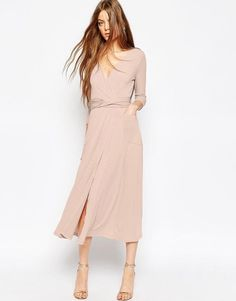 Image 1 of ASOS Wrap Maxi Dress in Jersey Crepe