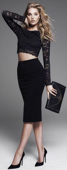 Lace crop top and high waist skirt