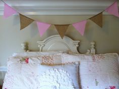 Pink and White Gingham & Burlap  Fabric Bunting by HalosHaven, $20.00