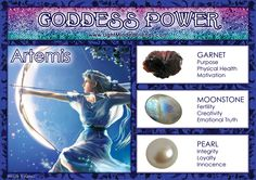 Goddess Power: Artemis - Stones: Garnet, Moonstone and Pearl Wiccan Spells, Magick, Witchcraft, Pagan, Artemis Goddess, Moon Goddess, Crystals And Gemstones, Stones And Crystals, Angel Guidance