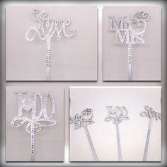 Recently reduced!  All cake toppers pictured are $19.95! Monogram Cake Toppers, Cake Picks, Engagement Cakes, Candy Buffet, Dessert Table, Wedding Accessories, Swarovski Crystals, Wedding Cakes, Sparkle