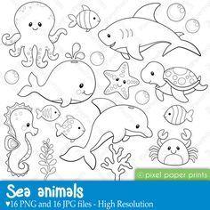 Sea Animals Digital Stamps Clipart por pixelpaperprints en Etsy