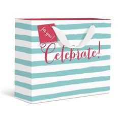 Celebrate! Medium Gift Bag by Graphique de France. This ocean striped gift bag is perfect for any summer celebration! $3.95