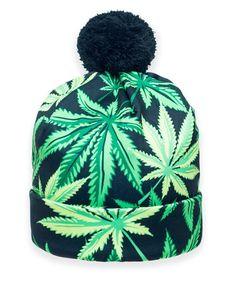 Bulk lot of 12 Assorted Marijuana Leaf Cannabis Winter Knit Beanie Hats