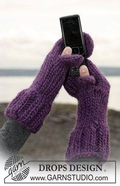 Moufles DROPS tricotées, avec pouce amovible en Eskimo