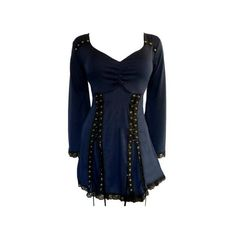 DARE FASHION Gothic ELECTRA Stretch Corset Style Top MIDNIGHT BLUE... ❤ liked on Polyvore featuring tops, gothic tops, stretchy tops, stretch tops, blue top and goth top