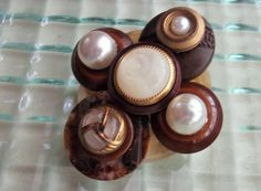 Brown Pearl Gold Button Pin Button Jewelry Recycled by mscenna