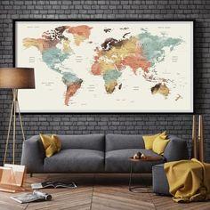Large World Map Watercolor Push Pin, Push pin travel wolrd map wall ar | Fine Art Center