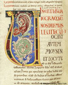 Foliate ornament within decorated initial U, with fantastic animal and interlace as serifs | Bible | Italy, Bobbio | 1100-1125 | The Morgan Library & Museum